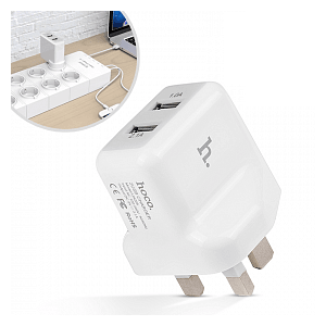 Hoco UH205 Double USB 3 Pin Home Charger - White