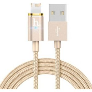 Hoco UPL23 Magnetic Metal Knitted charging Lightning Cable -Gold