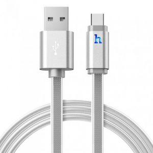 Hoco Metal Jelly Knitted Type-C Charging Cable UPL12 - Silver