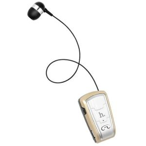 Hoco E4 Telescopic Collar Pin style Bluetooth Earphone - Gold
