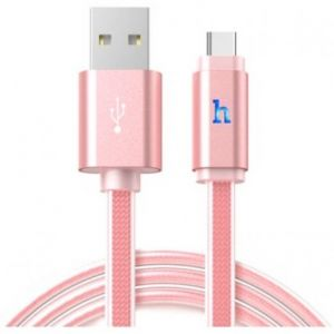 Hoco Metal Jelly Knitted Type-C Charging Cable UPL12 - Rose Gold