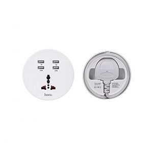 Hoco C17 JunNa 4U Charger with AC Socket UK - White