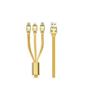HOCO U14 Steel Man One Pull Three Charging Cable Lightning +Micro+Type C - Gold