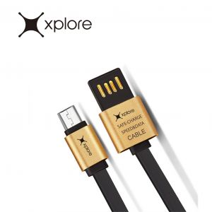 Xplore Metal Dual USB Flate Micro Cable DC-02AM